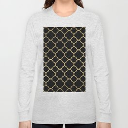 Elegant geometrical black faux gold quatrefoil Long Sleeve T-shirt