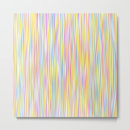 Colorful stripes over yellow Metal Print