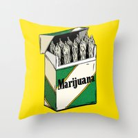marijuana Throw Pillows featuring Mainstream Marijuana by Kelsey Dake