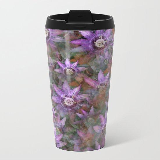 Purple Clematis Metal Travel Mug