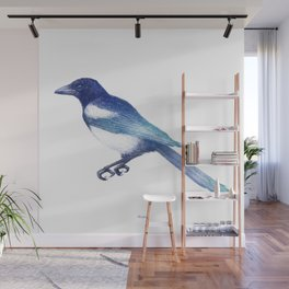Magpie (Pica pica) - blue and turquoise Wall Mural