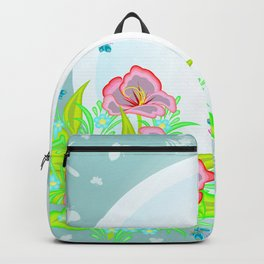 Frame with abstract flowers and background Backpack