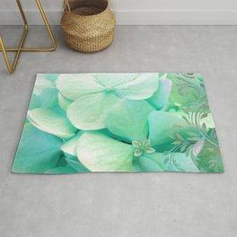 Mint Hydrangea floral art Rug