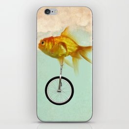 unicycle gold fish -2 iPhone Skin