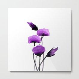 Purple watercolor flowers no.01 Metal Print