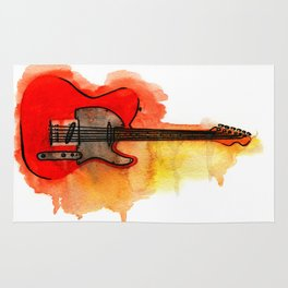 Watercolor guitar Rug