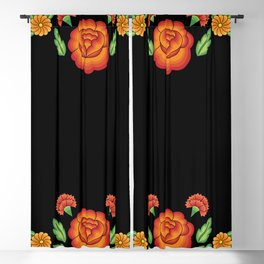 Mexican Folk Pattern – Tehuantepec Huipil flower embroidery Blackout Curtain