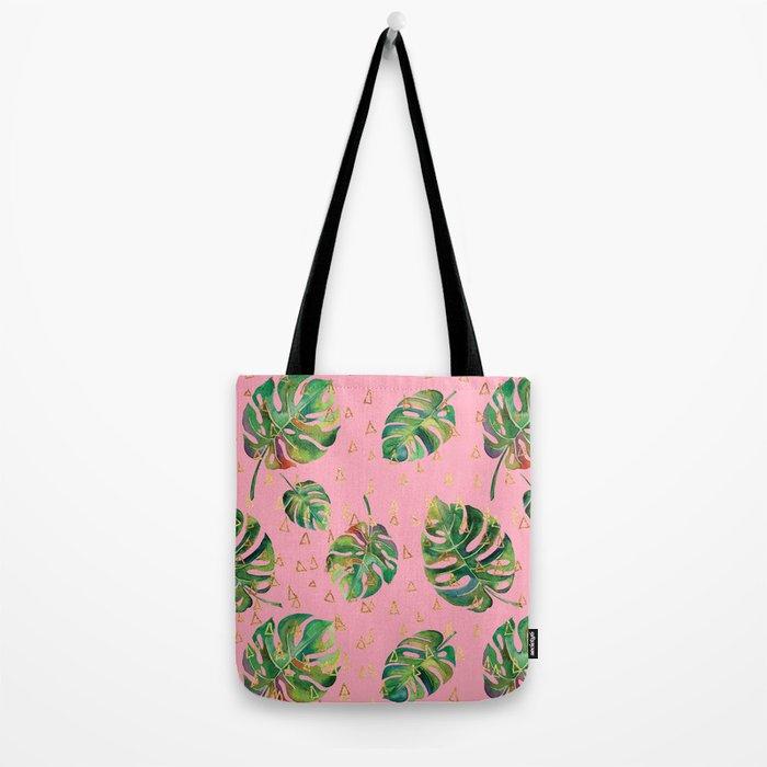 Monstera Gold // Monstera Pattern, Gold Foil Pattern, Lifestyle Digital Collage Pink Tote Bag