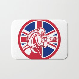 British Sandblaster Abrasive Blasting Union Jack Flag Circle Bath Mat