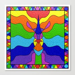 Stained Glass Unicorn Canvas Print