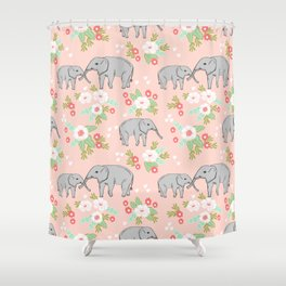 Elephants pattern blush pink pastel with florals cute nursery baby animals lucky gifts Shower Curtain