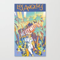 los angeles Canvas Prints featuring Los Angeles by David Chestnutt