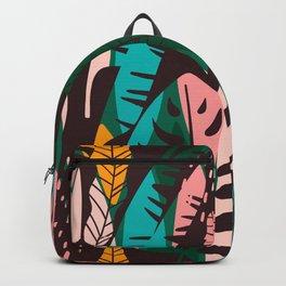 Vintage Tropical Leaf Pattern Backpack
