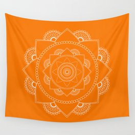 Mandala 01 - White on Orange Wall Tapestry