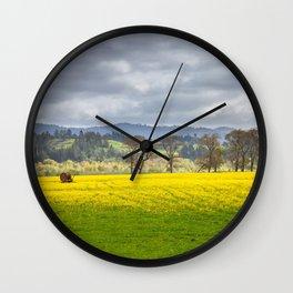 Yellow Fields Along The Eel River Wall Clock