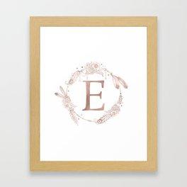 Letter E Rose Gold Pink Initial Monogram Framed Art Print