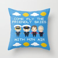cabin pressure Throw Pillows featuring Cabin Pressure: The Lemon is With You by Le Bear Polar