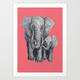 Elephant Parent and Calf (pink) Art Print