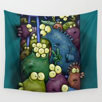 aliens Wall Tapestries featuring Crowded Aliens by Billy Allison