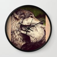 wolves Wall Clocks featuring Wolves by CLE.ArT.