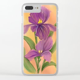 Purple Iris in warm sunshine Clear iPhone Case