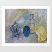 Still life with yellow cloth Art Print