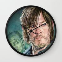 daryl dixon Wall Clocks featuring Daryl Dixon by Mark Satchwill Art