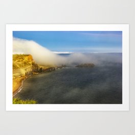 Saltwick Bay as the fog rolls in Art Print