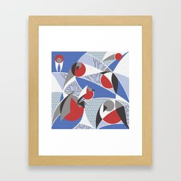 Birds bullfinches in blue, red and grey colors Framed Art Print