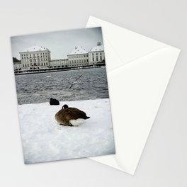 Nymphenburg castle in the snow Stationery Cards