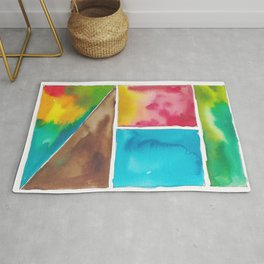 180811 Watercolor Block Swatches 10| Colorful Abstract |Geometrical Art Rug