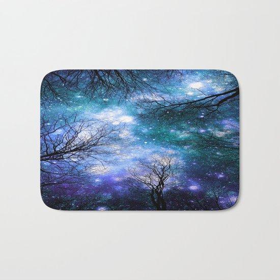 Black Trees Teal Violet Space Bath Mat