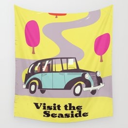 Visit the Seaside vintage car poster Wall Tapestry