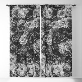 Flower Wall // Black and White Flat Floral Accent Background Jaw Dropping Decoration Blackout Curtain