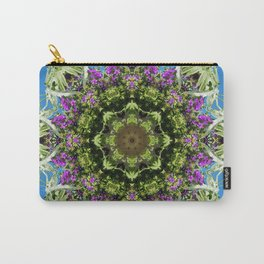 Intricate floral kaleidoscope - Vebena, Dichondra leaves with blue sky Carry-All Pouch