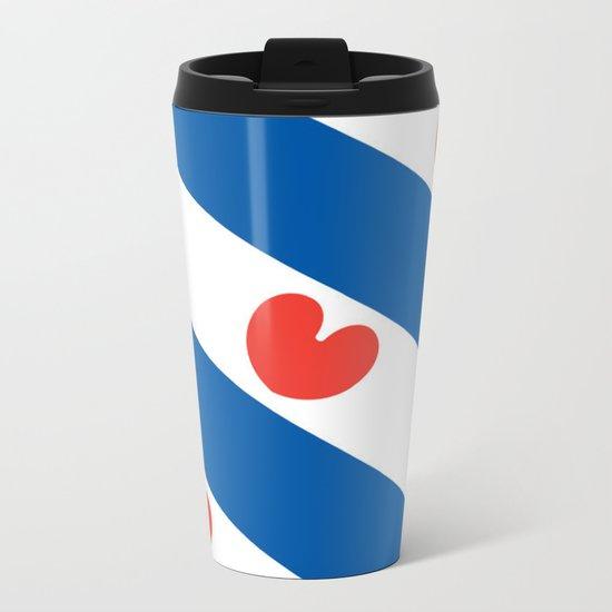 Flag of Friesland Metal Travel Mug