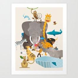 Kids Room Animals – Illustration for the sleeping room of girls and boys Art Print