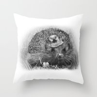 hedgehog Throw Pillows featuring Hedgehog by MARIA BOZINA - PRINT