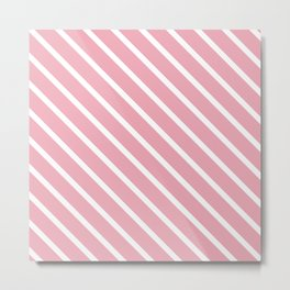 Peach Pink Diagonal Stripes Metal Print