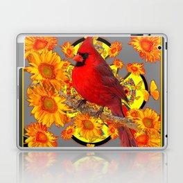 RED CARDINAL SUNFLOWERS ON GREY BLACK ART Laptop & iPad Skin