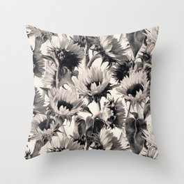 Sunflowers in Soft Sepia Throw Pillow