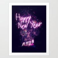 Happy New Year Fireworks over Edinburgh Art Print