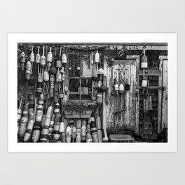 B&W Fishing Shack Art Print