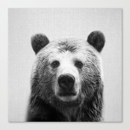 Bear - Black & White Canvas Print