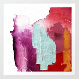 Desert Daydreams [3]: a colorful abstract mixed media piece in purple blue pinks and orange Art Print