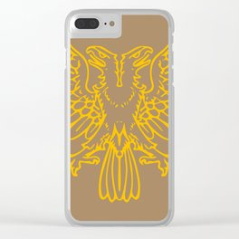 yellow double-headed eagle on brown background Clear iPhone Case