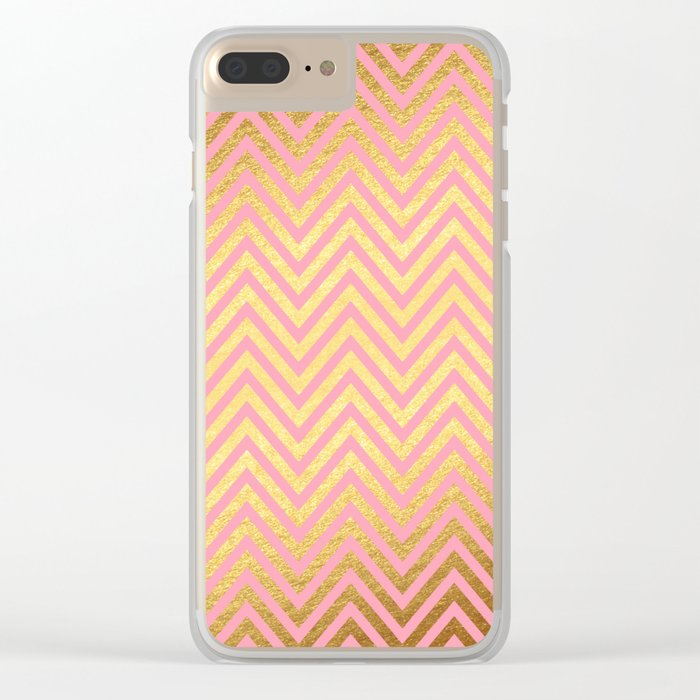 Chevron Herringbone pattern rosegold- gold metal glitter on pink watercolor Clear iPhone Case