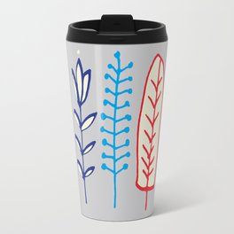 Fall and winter leaves gray Travel Mug