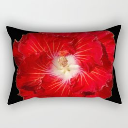 Tropical Red Hibiscus Flower on Black Rectangular Pillow