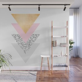 Geometric Triangles - Gold Pink and Marble Wall Mural